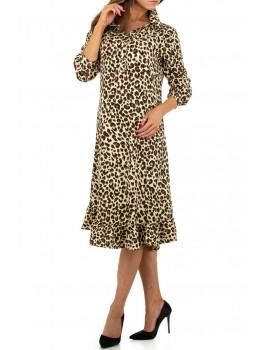 Λεοπάρ μίντι πουκαμισο-φόρεμα με βολάν στο τελείωμα - Εκρού
