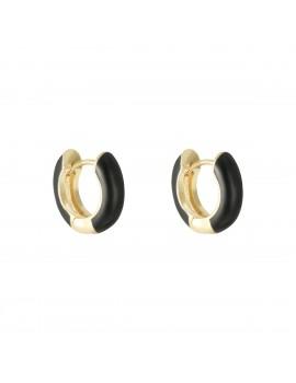 Σκουλαρίκια χρυσά κρικάκια με μαύρη επικάλυψη