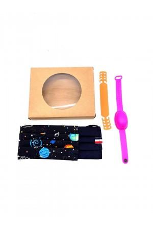 Σετ 2 υφασμάτινες παιδικές μάσκες, βραχιόλι&αντάπτορας - Πλανήτες