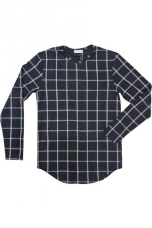 Καρώ ανδρικό μακρυμάνικο μπλουζάκι  - Μαύρο