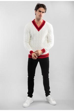 Ανδρικό πουλόβερ με αντίθεση - Λευκό