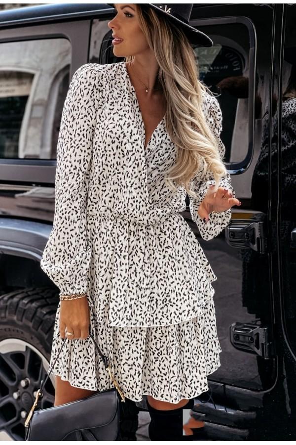 Μακρυμάνικο φόρεμα με διπλό βολάν - Λευκό