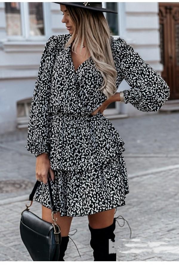 Μακρυμάνικο φόρεμα με διπλό βολάν - Μαύρο