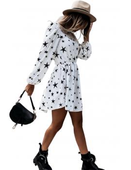 Φόρεμα skater με τύπωμα αστέρια - Λευκό
