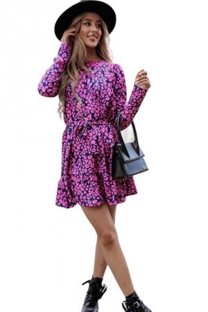 Φόρεμα skater με λεοπάρ τύπωμα και ζώνη - Φούξια