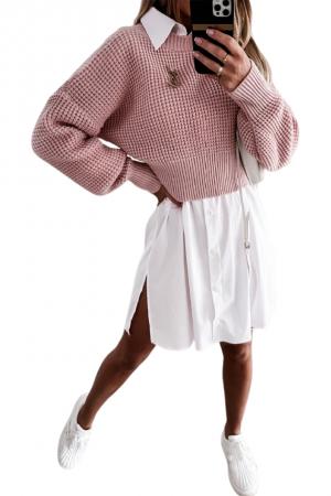 Κοντό πουλόβερ με πλέξη - Ροζ