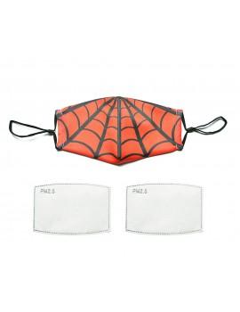 Κόκκινη υφασμάτινη μάσκα με αράχνη με φίλτρο, S/M