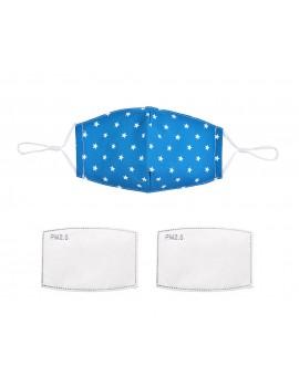 Μπλε υφασμάτινη μάσκα με φίλτρο με λευκά αστέρια