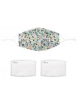 Λευκή/πράσινη υφασμάτινη μάσκα με print σταφίδα με φίλτρο,One size