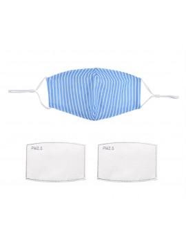 Μπλε ριγέ υφασμάτινη μάσκα με φίλτρο, One size
