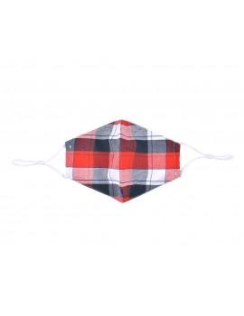 Κόκκινη καρώ υφασμάτινη μάσκα χωρίς φίλτρο, One size