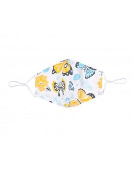 Λευκή υφασμάτινη μάσκα με πεταλούδες χωρίς φίλτρο, One size
