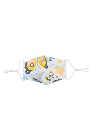 Λευκή παιδική υφασμάτινη μάσκα με πεταλούδες χωρίς φίλτρο, XS