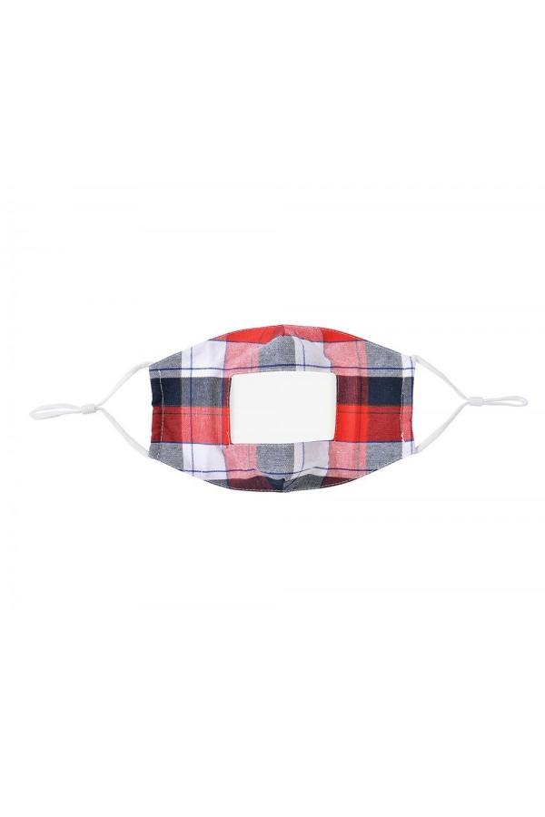 Κόκκινη καρώ μάσκα με παράθυρο