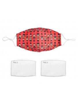 Κόκκινη υφασμάτινη μάσκα με καρυοθραύστες με φίλτρο