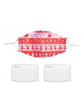 Λευκή/κόκκινη υφασμάτινη χριστουγεννιάτικη μάσκα με φίλτρο