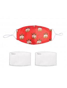 Κόκκινη χριστουγεννιάτικη υφασμάτινη μάσκα με πουτίγκες  με φίλτρο