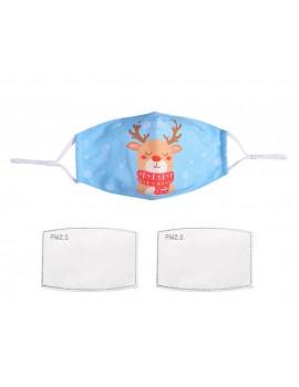 Γαλάζια υφασμάτινη μάσκα με τάρανδο με φίλτρο