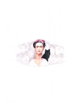 """Frida Kahlo & μαύρη γάτα"" υφασμάτινη μάσκα προσώπου ενηλίκων"