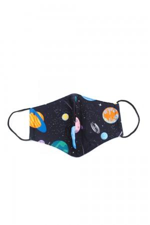 Μαύρη με πλανήτες παιδική μάσκα προσώπου