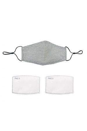 Γκρι ριγέ λινή/βαμβακερή μάσκα με φίλτρο και γέφυρα μύτης, One size