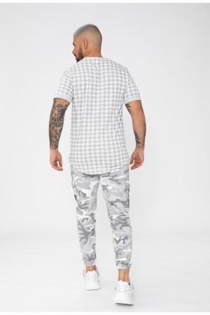 """T-shirt '""""pied de poule"""" print -Γκρι"""