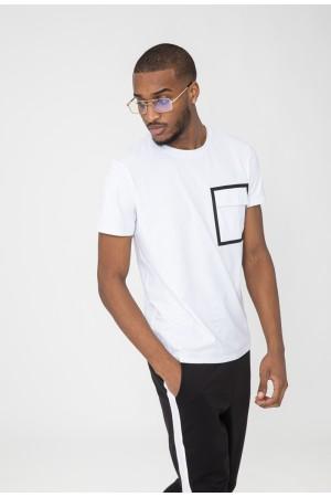 T-shirt με λεπτομέρεια τσέπης - Λευκό
