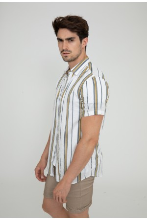 Κοντομάνικο ριγέ πουκάμισο - Λευκό