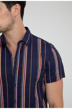 Κοντομάνικο ριγέ πουκάμισο - Μπλε
