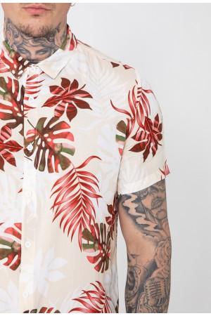 Ανδρικό φλοράλ κοντομάνικο πουκάμισο - Μπεζ