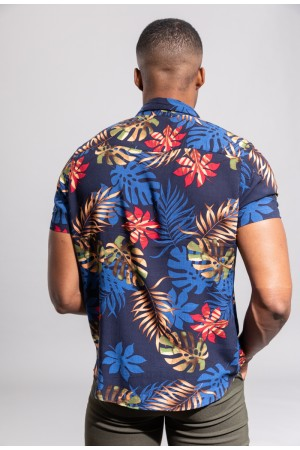 Ανδρικό φλοράλ κοντομάνικο πουκάμισο - Μπλε σκούρο