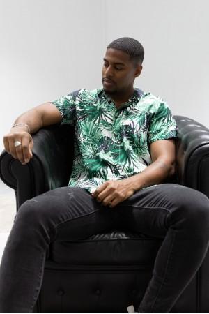 Ανδρικό κοντομάνικο πουκάμισο με monstera - Λευκό