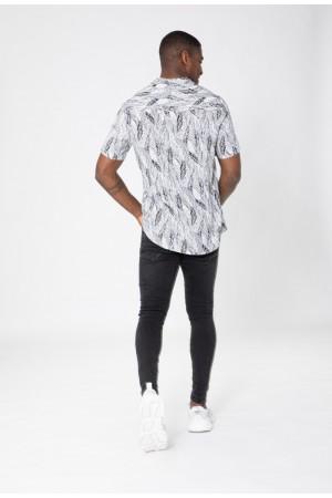 Ανδρικό κοντομάνικο πουκάμισο με πούπουλα - Μαύρο