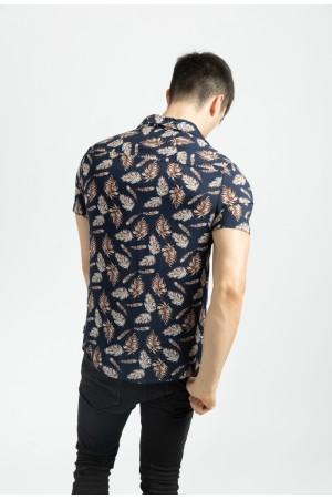 Ανδρικό κοντομάνικο πουκάμισο με φύλλα - Μπλε σκούρο