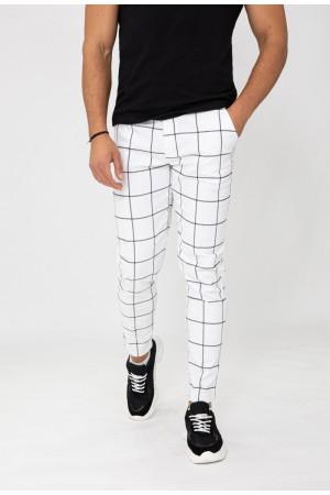 Ανδρικό καρώ παντελόνι - Λευκό