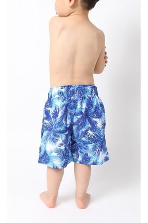 Μπλε μαγιό-βερμούδα για αγόρια με φύλλα φοίνικα