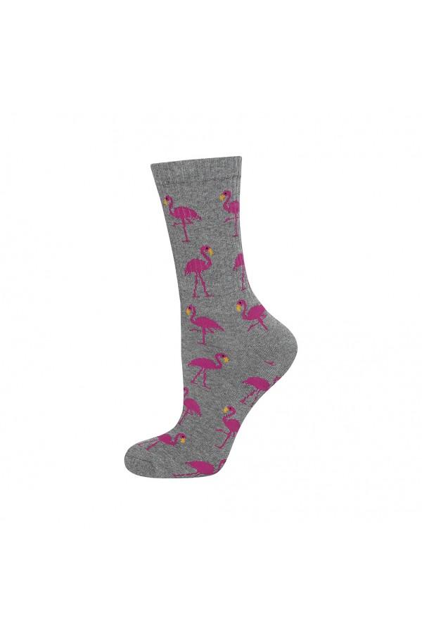Γυναικείες κάλτσες γκρι με φλαμίνγκο