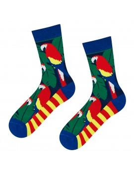 Γυναικείες κάλτσες πολύχρωμες με παπαγάλους