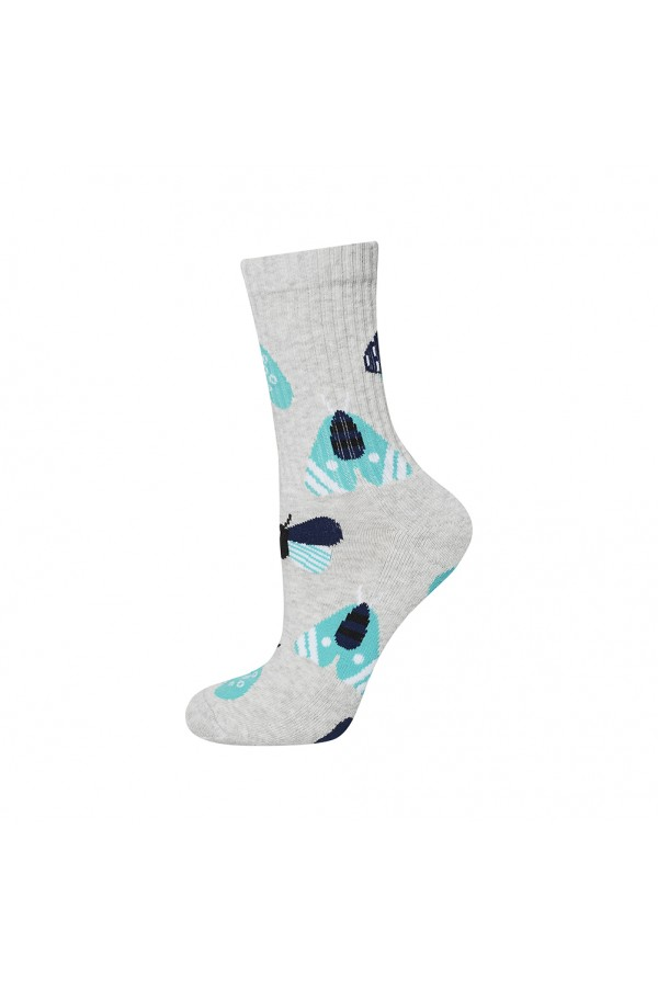 Γυναικείες κάλτσες γκρι με έντομα