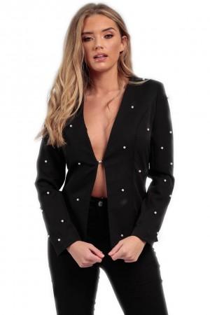 Μαύρο blazer με πέρλες