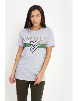 """Amour Always"" Γκρι T-shirt"