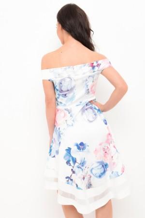 Λευκό φόρεμα σε δύο μήκη με φλοράλ τύπωμα