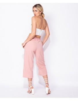 Ροζ ζιπ κυλότ με ζώνη