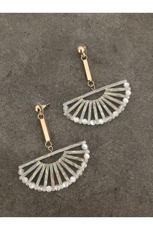 Κρεμαστά σκουλαρίκια λευκή ρητίνη