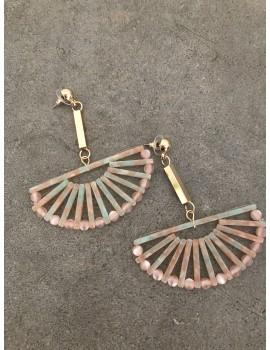 Κρεμαστά σκουλαρίκια ροζ ρητίνη