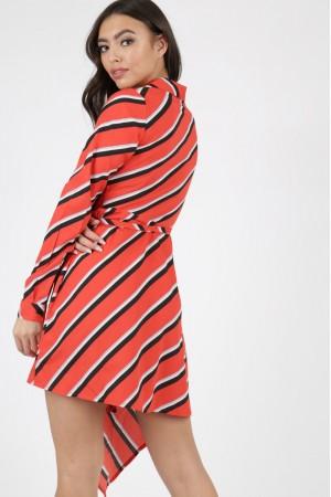 Κόκκινο ριγέ ασύμμετρο φόρεμα