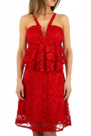 Κόκκινο φόρεμα με δαντέλα και βολάν