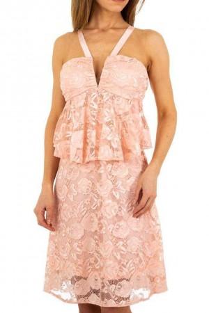 Ροζ φόρεμα με δαντέλα και βολάν