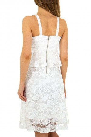 Λευκό φόρεμα με δαντέλα και βολάν