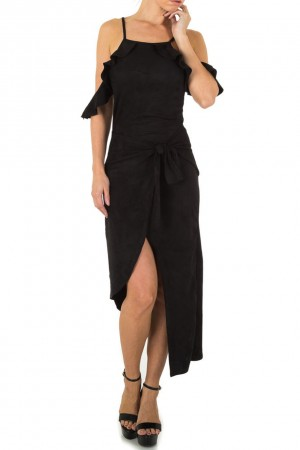 Ασύμμετρο φόρεμα με όψη σουέτ